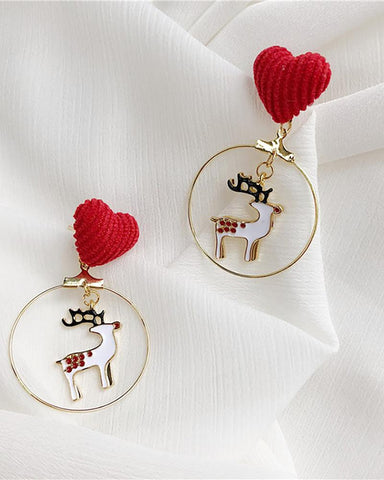 Christmas Heart Moose Pattern Drop Earring