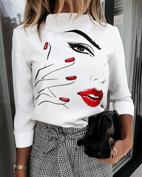 Figure Print Long Sleeve Casual Top