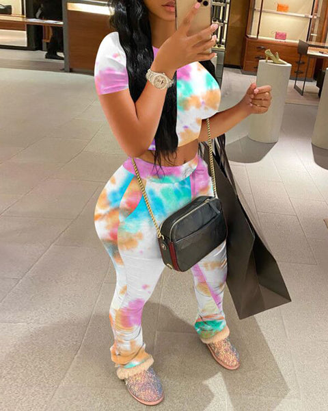 Tie Dye Print Short Sleeve Casual Top & Pant Set