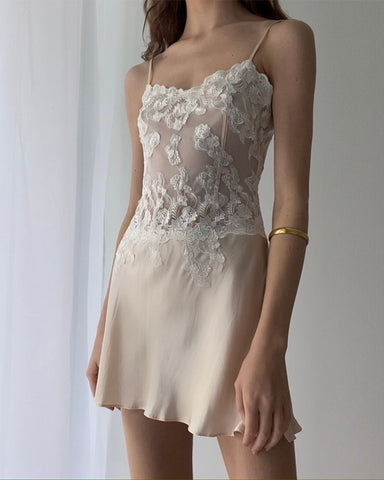 Solid Lace Cut-out Strap Sleeveless Mini Babydoll Dress