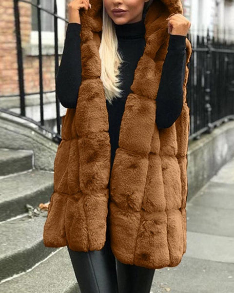 Solid Color Sleeveless Hooded Coat