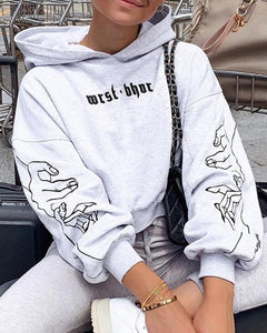 Print Long Sleeve Loose Hooded Sweatshirts