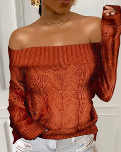 Off Shoulder Solid Cable-knit Long Sleeve Sweater