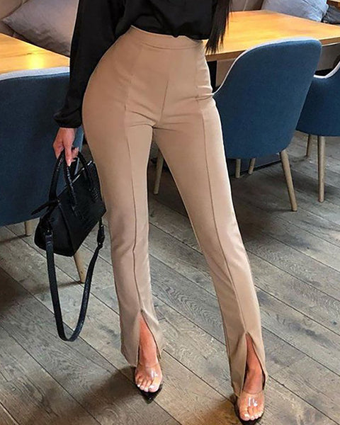 Solid Slit High Waist Tailored Pants