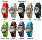 Load image into Gallery viewer, 6 Geneva Silicone Strap Band Watches w/Rhinestones
