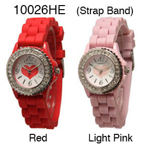 6 Geneva Silicone Strap Band Watches w/Rhinestones