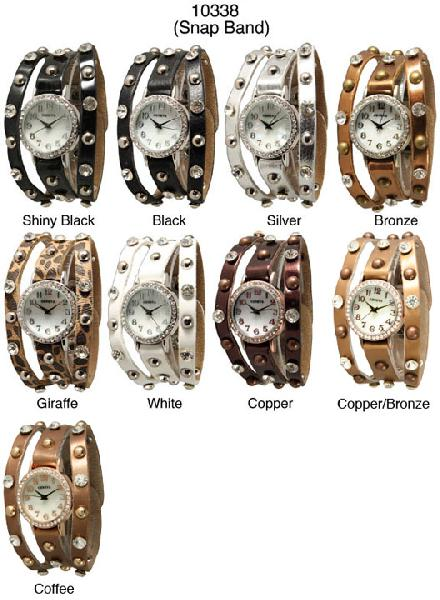 6 Geneva Womans Snap Band Watches