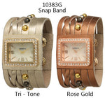 Load image into Gallery viewer, 6 Geneva Leather Snap Band Watches