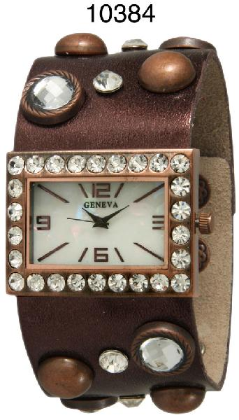 6 Geneva Leather Snap Band Watches
