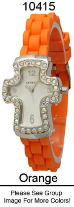 Load image into Gallery viewer, 6 Geneva Silicon Strap Band Watches w / rhinestones
