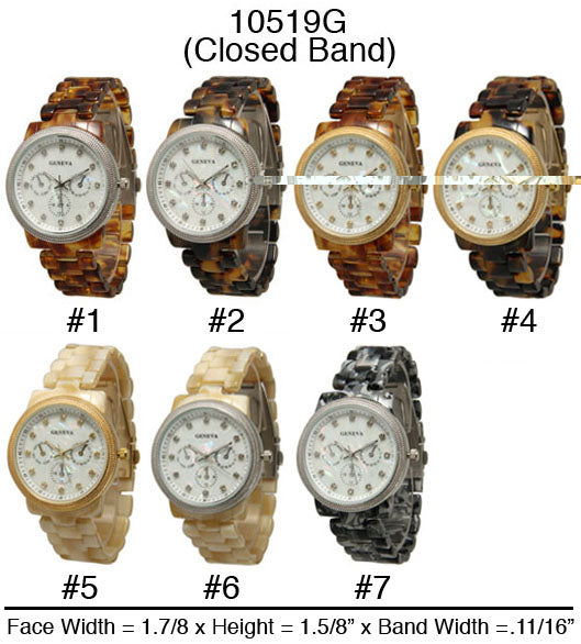 6 Geneva Plastic Link Closed Band Watches