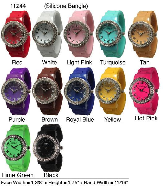 6 Geneva Silicone Bangles Watches