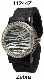 Load image into Gallery viewer, 6 Geneva Silicone Bangle Watches w/Rhinestones