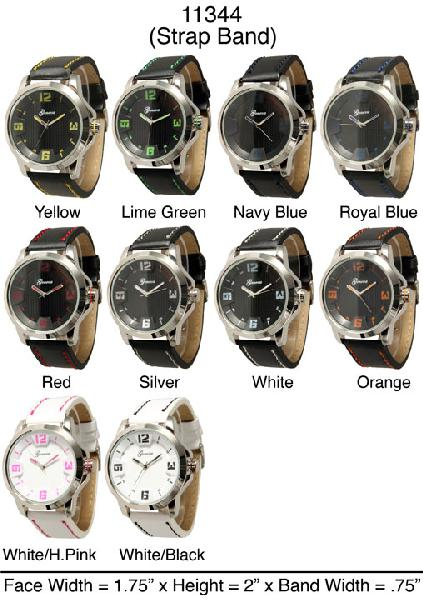 6 Geneva leather strap band watches
