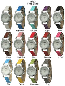 6 Geneva Snap Band Watches