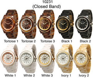 6 Geneva Closed Band Watches w/Rhinestones