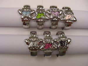 12 Rhinestone Butterfly Bangles with Color Dial
