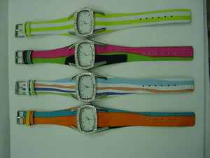 12  Leather Band Watches with Stripes & Rhinestones