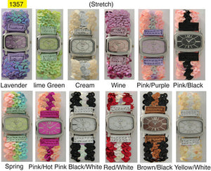 12 Geneva Sequin Stretch Watches with Matching Dial