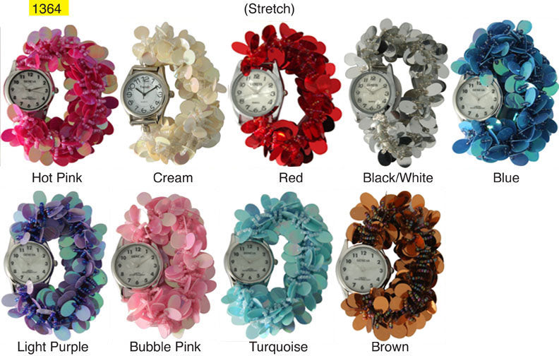 12 Geneva Sequin Disc Strech Watches