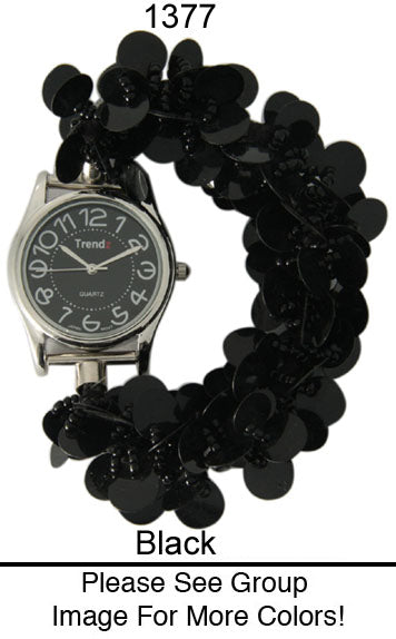 12 Sequin Disc Strech Watches with Matching Dial