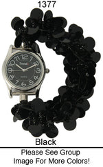 Load image into Gallery viewer, 12 Sequin Disc Strech Watches with Matching Dial