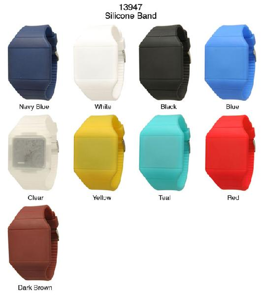 6 Geneva Digital Silicone Watches