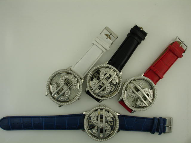 12 Money Sign Spin Watches with Stone Case