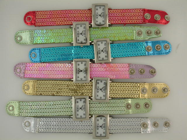 12 Sequin Snap Watches with Square Face