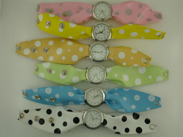 12 Assorted Polka dot scarf watches