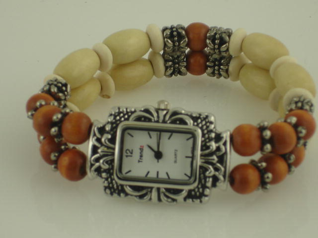 12 Womens Wood beaded watches