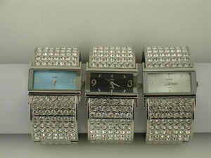 6 Womens Cuff Bangles with Rhinestones
