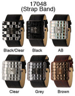 Load image into Gallery viewer, 6 Narmi leather strap watches w/ rhinestone
