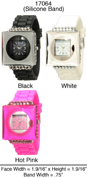 6 Geneva Silicone Strap Watches