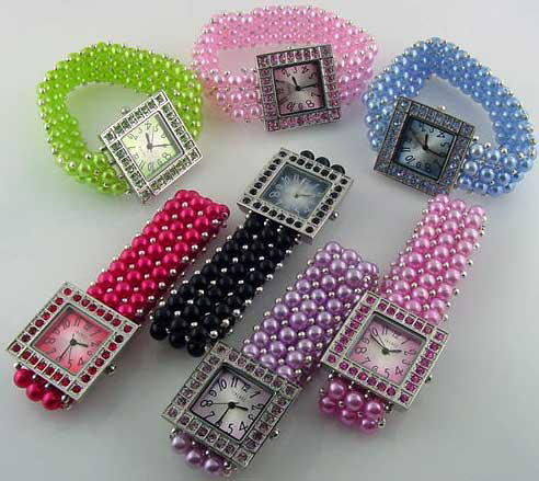6 Womens faux pearl stretch band watches