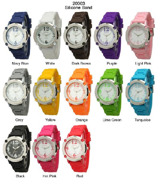 6 Geneva Silicone Band Watches