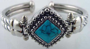 6 Womens Cuff Bangles with Turquoise