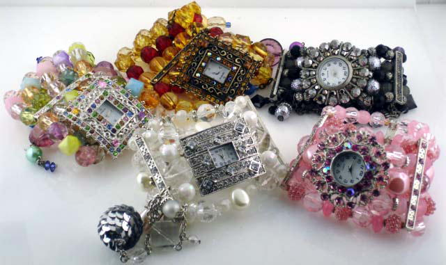 6 Rhinestone Stretch Watches