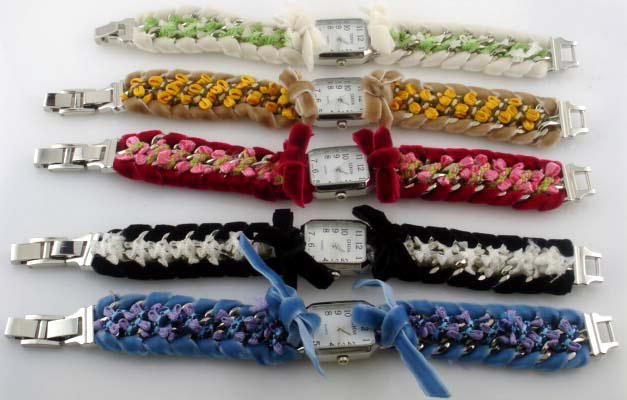 6 floral fabric bracelet watches