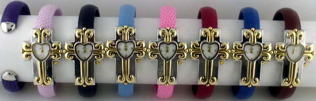 6 Geneva Two Tone Cross Snake Cuffs
