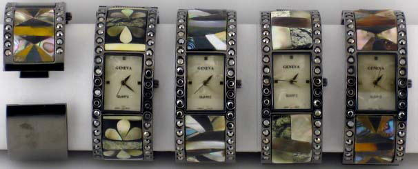 6 Geneva shell stone watches with Black Rhinestones