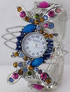 6 Geneva womens dragonfly cuff watches
