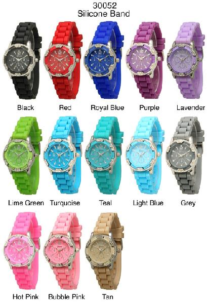 6 Geneva Silicone Strap band Watches