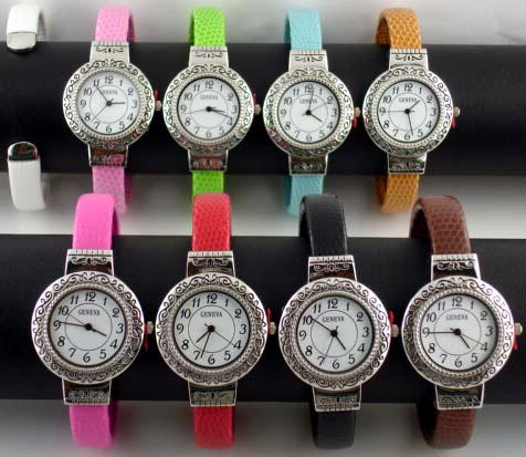 6 Geneva womens faux snake cuff watches