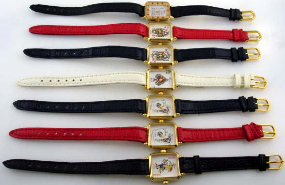 12 faux leather band vegas theme watches