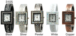6 Narmi Womens Metal Bangle W/Rhinestones