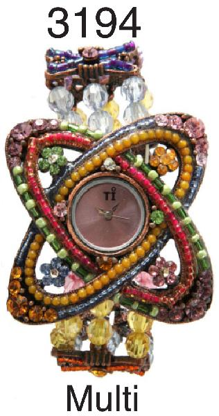 3 Geneva multi floral stretch watches