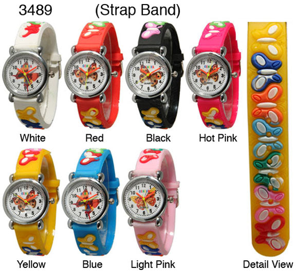 6 plastic band butterfly watches