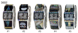 6 Geneva cuffs w/ shell inlay and bagget stones