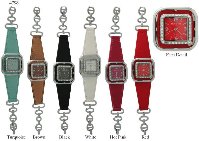 6 Womens Bracelet Style Watches W/Rhinestones